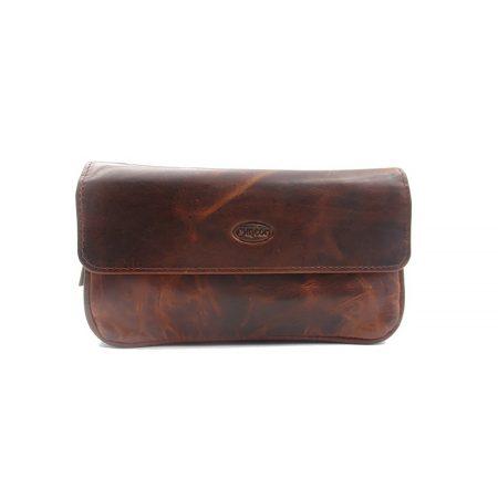 Chacom CC017 Retro barna bőr pipatáska ( 2 pipa + dohánytartó )