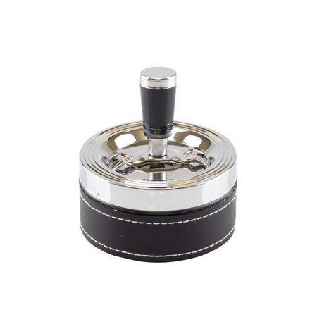 Forgó króm-bőr hamutartó (henger alakú) TAB-06030