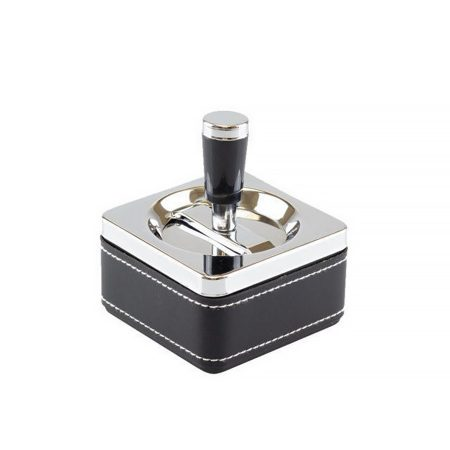 Forgó króm-bőr hamutartó (négyzet alakú) TAB-06028